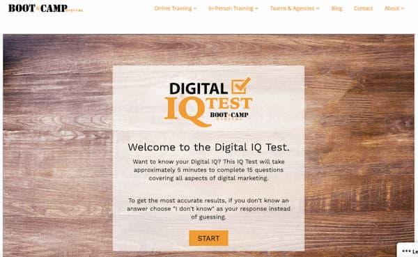 Лид форма бренда BOOT CAMP с IQ тестом