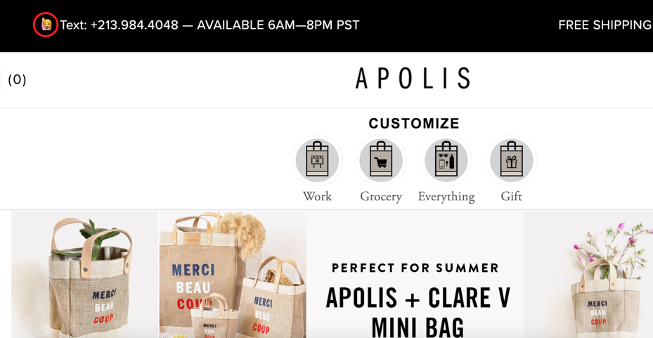 Apolis website using emojis in their design