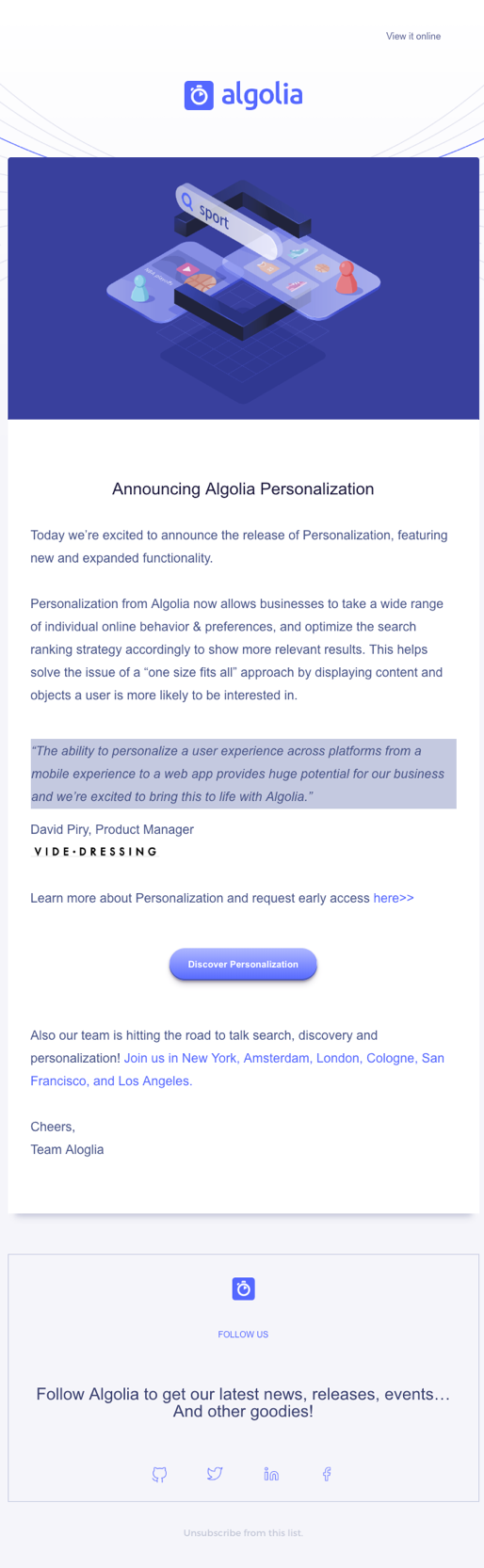 Algolia 3d isometric design in email.