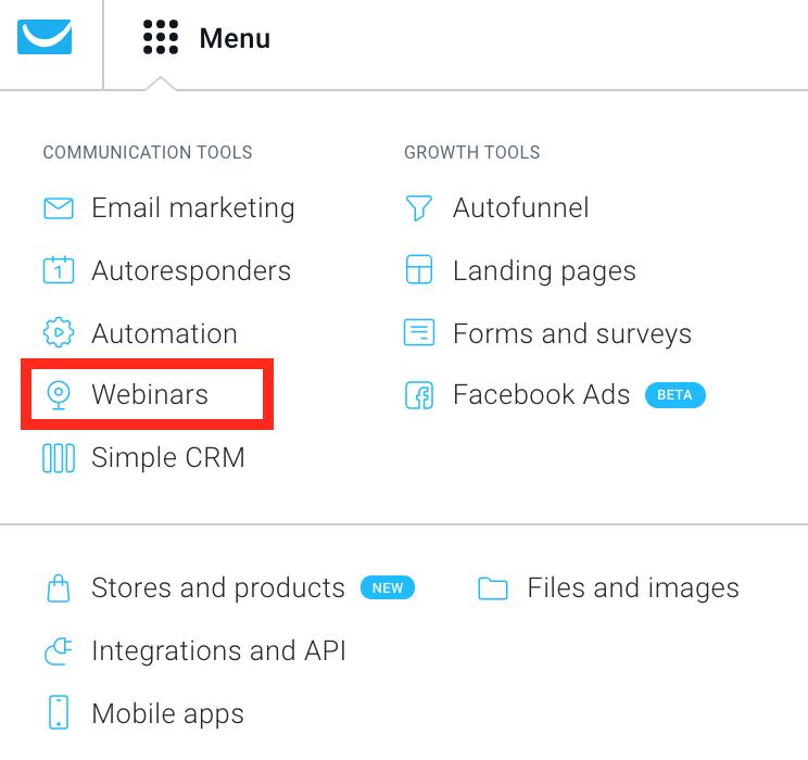Webinars in GetResponse menu.