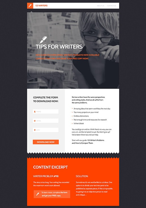 Ebook download landing page template from GetResponse