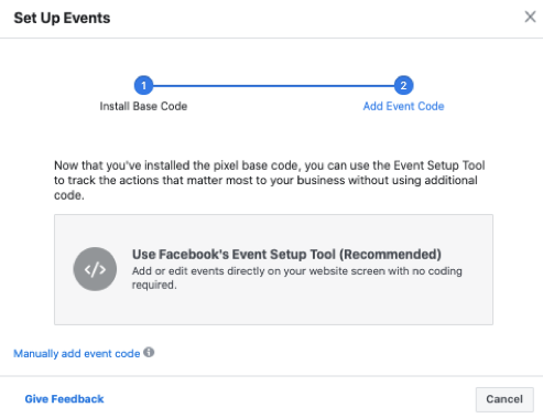 Choosing between Facebook Event Setup Tool and Manually adding the event code.