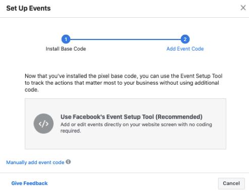"""Elegir entre la herramienta de configuración de eventos de Facebook y agregar manualmente el código del evento. """"Class ="""" wp-image-7065"""
