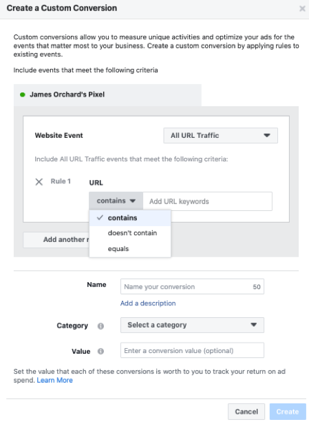 How to set Facebook Pixel events - set custom conversion.