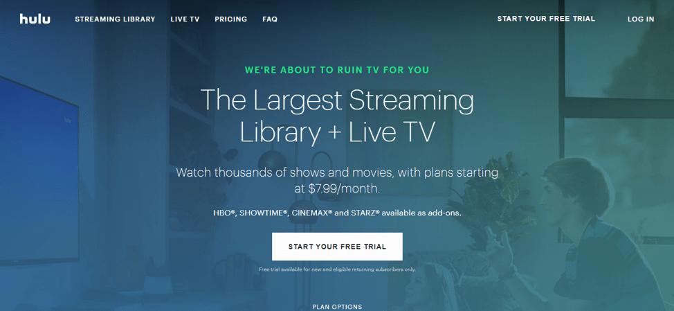 Домашняя страница Hulu с белой кнопкой призыва к действию подписаться на пробный период