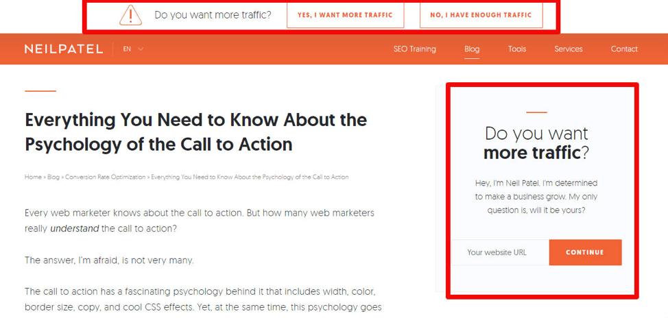 пример кнопки призыва к действию внутри контента блога