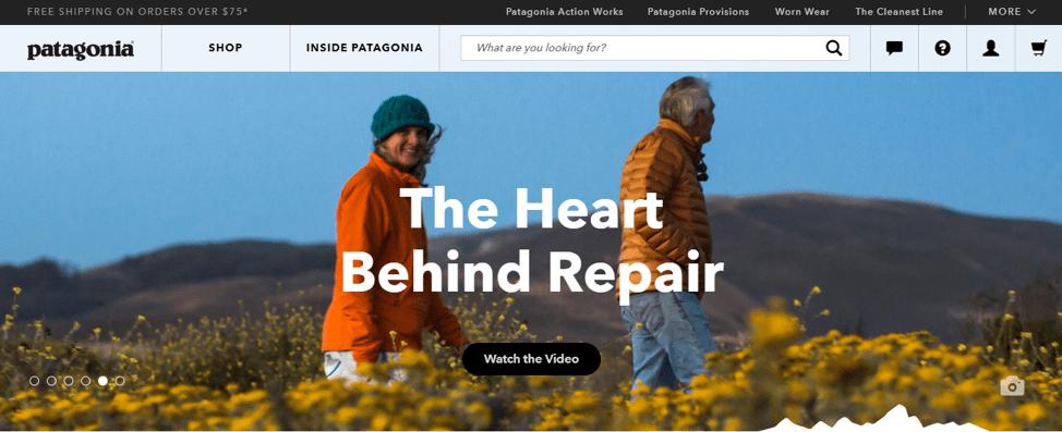 домашняя страница Patagonia, на которой изображены два человека в поле