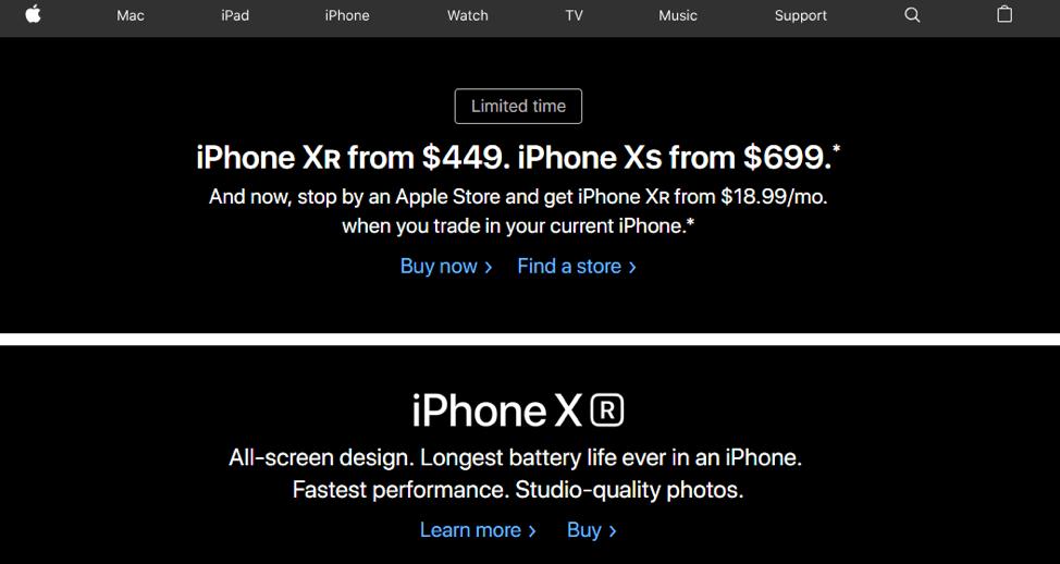 домашняя страница Apple и кнопки призыва к действию