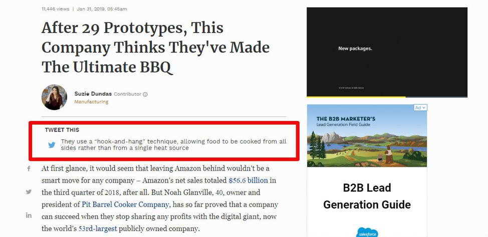 пример расположения кнопки призыва к действию на текстовой странице сайта Forbes