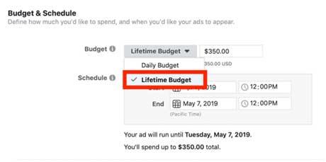 настройка бюджета и графика показа рекламы в Facebook