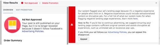 пример уведомления об отклонении рекламы на Facebook стоимость
