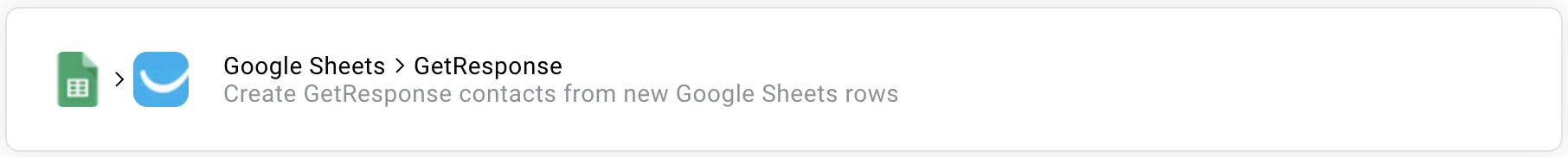 google sheets getresponse zap.