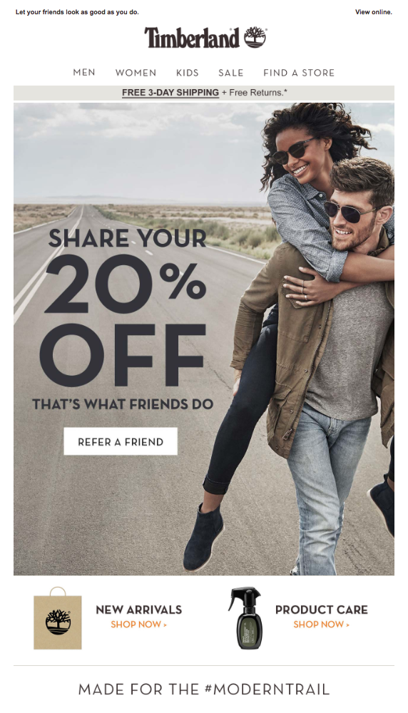 Refer a friend campaign from Timberland.
