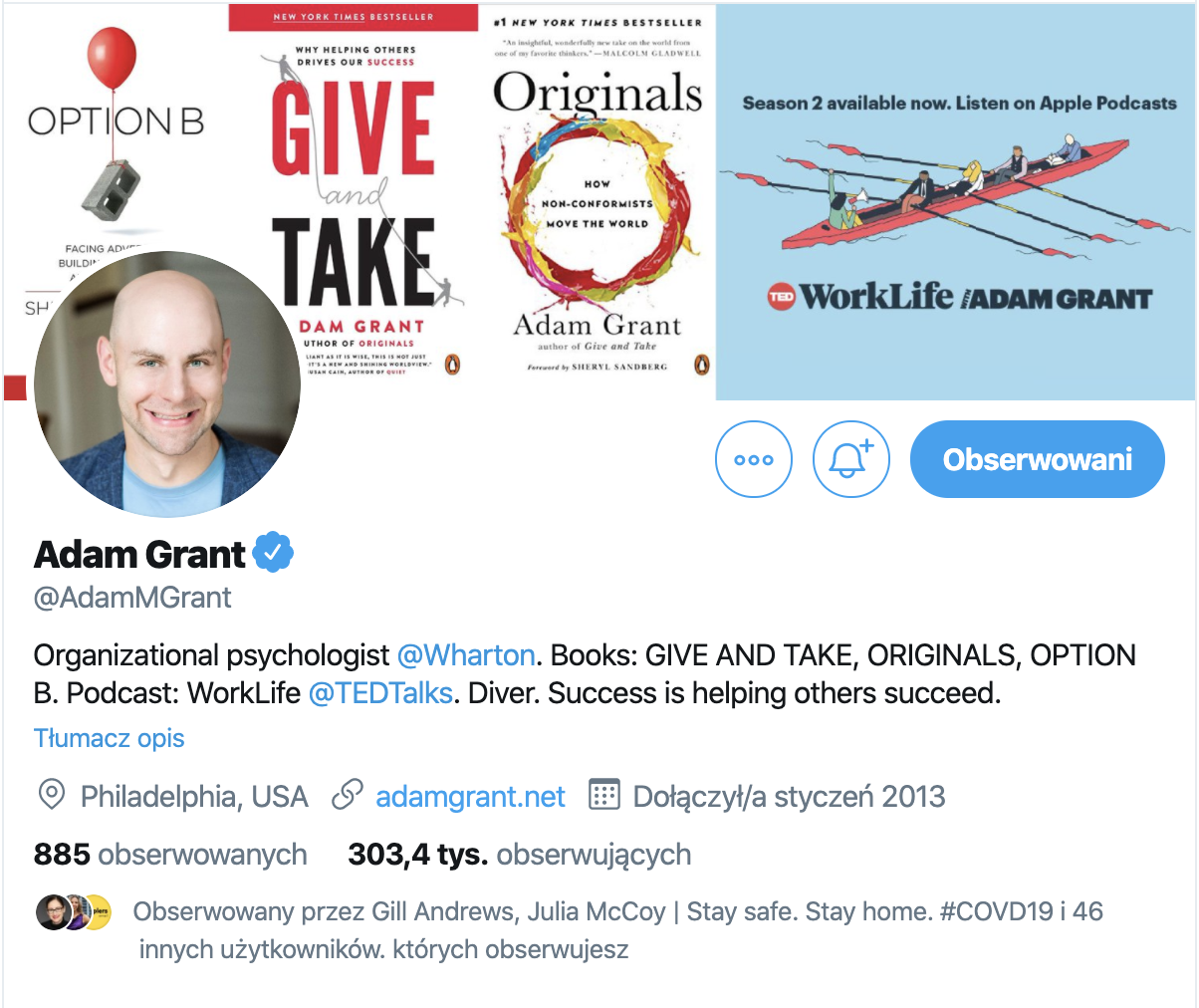 Adam Grant promoting on Twitter.