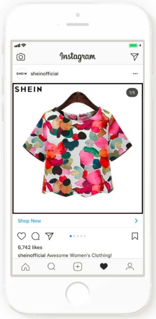 Цветная блуза компании Shein - пример удачной рекламной кампании бренда в Инстаграм
