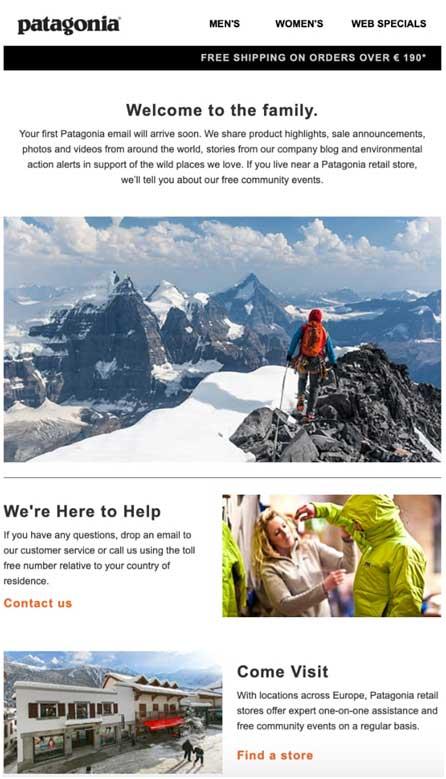 приветственная рассылка, где на фоне гор изображен альпинист
