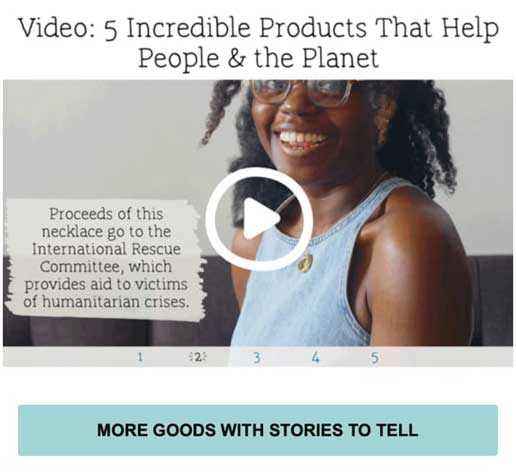 описательная кнопка призыва к действию в виде видео от бренда Uncommon Goods