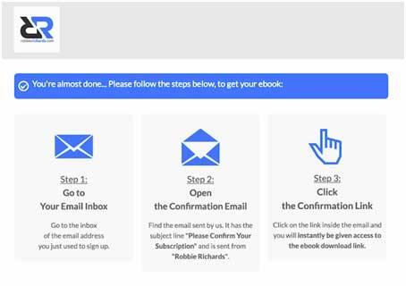 страница с благодарностью за емейл подписку с инструкциями для пользователей, как скачать и получить бесплатную книгу