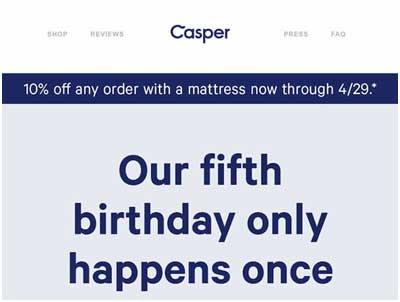 краткое рекламное предложение предлагающее 10% скидку на товар от Casper