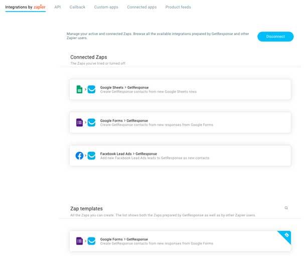 Скриншот списка интеграций и шаблонов Запов