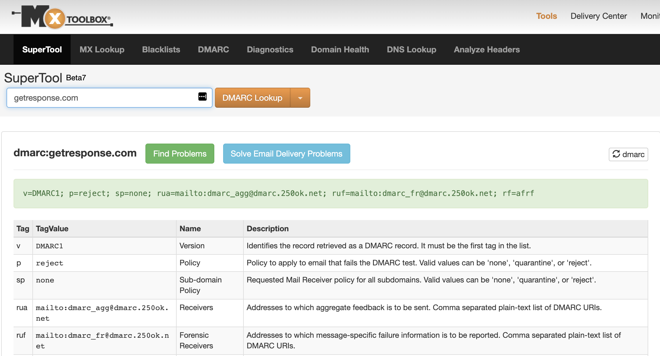 Example of a DMARC lookup test created with MxToolbox.