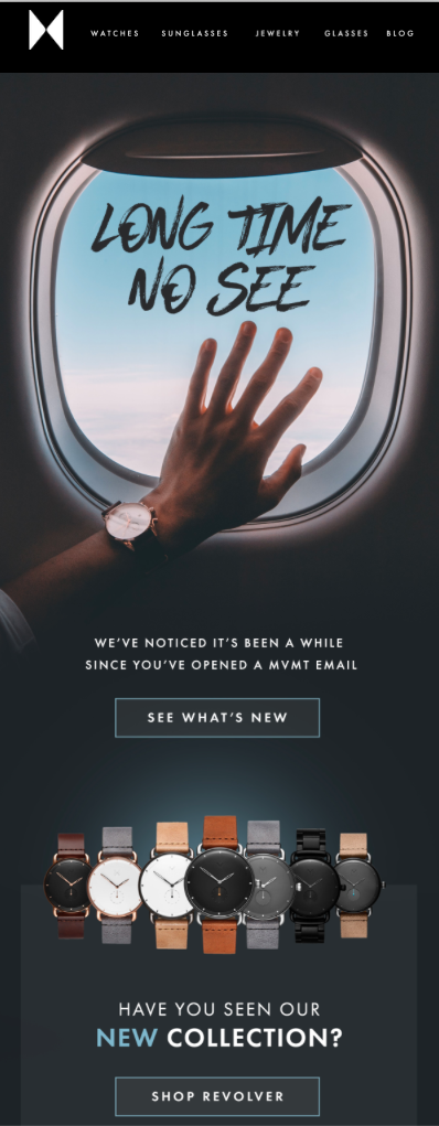 Example of an email reengagement campaign sent by MVMT.