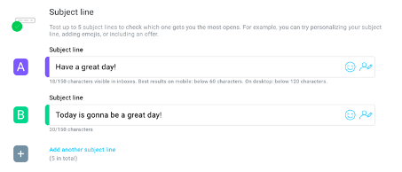 An example of A/B subject line testing using GetResponse.