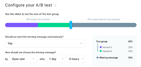 Example of AB test configuration in GetResponse.