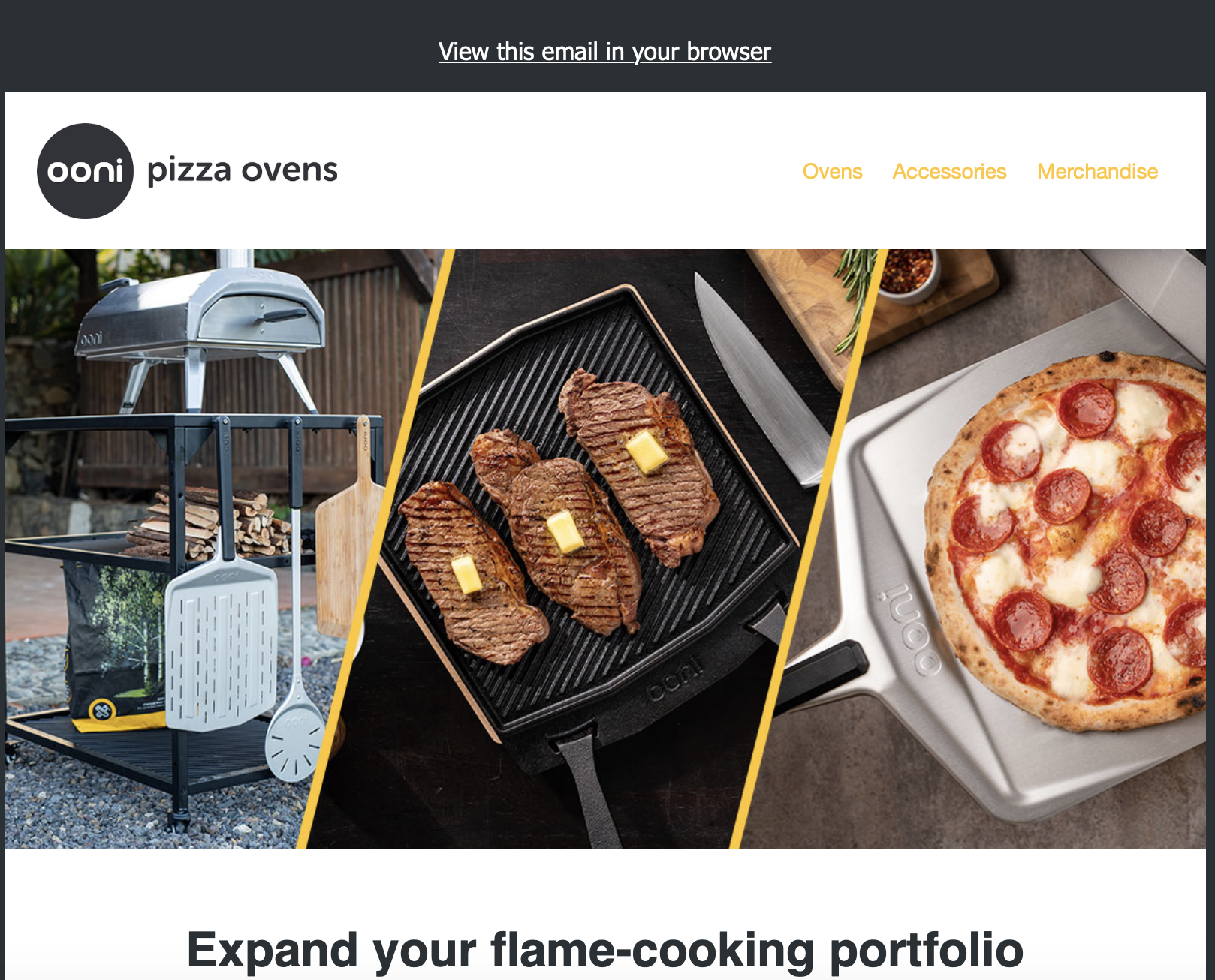 Ooni Pizza Ovens email design - brand identity.