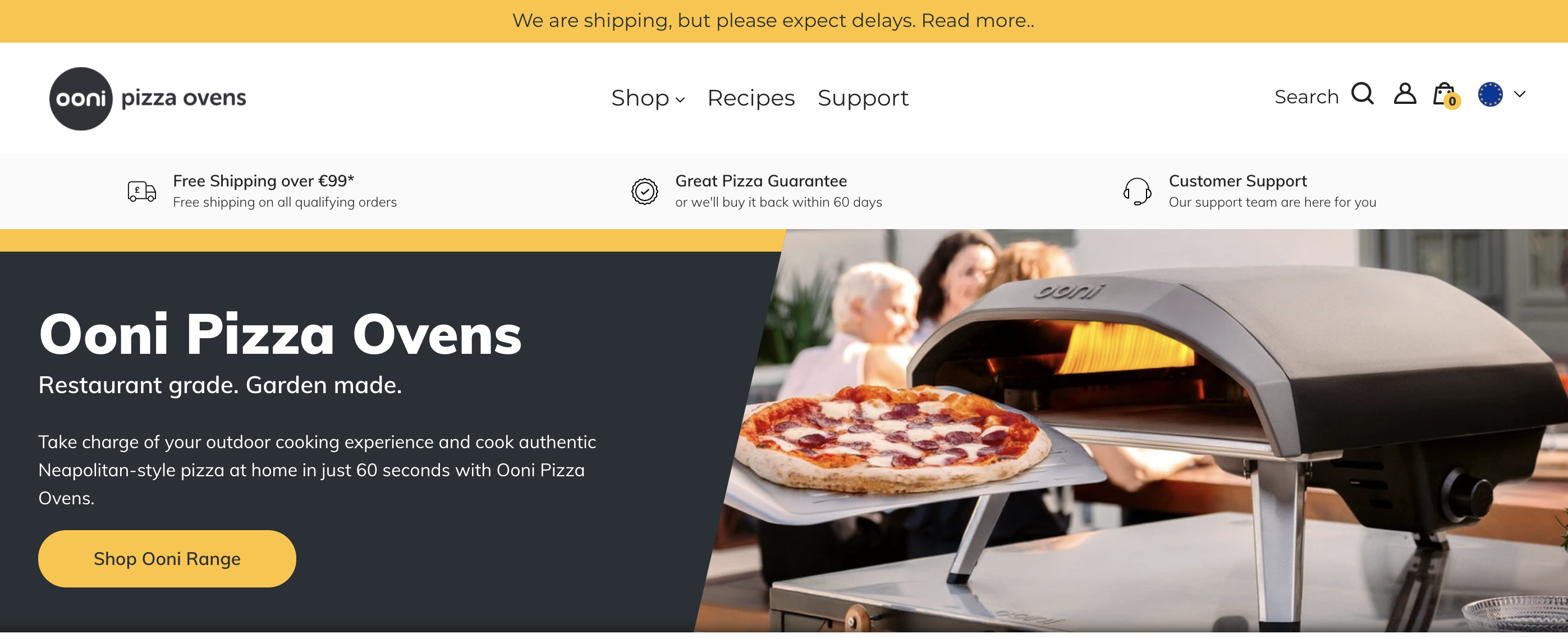Matching email and website design by Ooni Pizza Ovens.
