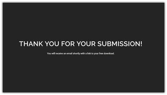 Пример страницы благодарности черного цвета, на которой белыми буквами написаны слова благодарности