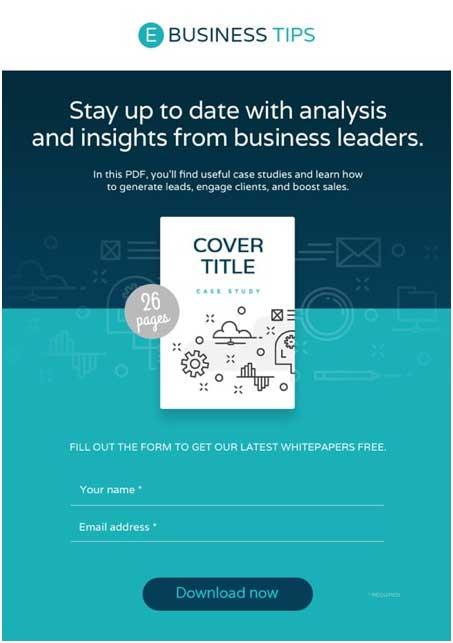 пример короткой страницы в двух оттенках синего цвета для промоции электронной книги