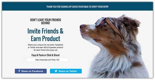 пример страницы благодарности - на белом фоне собака в очках