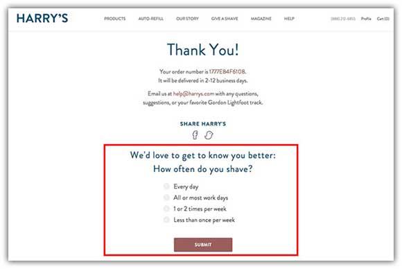 пример страницы благодарности с опросом внизу