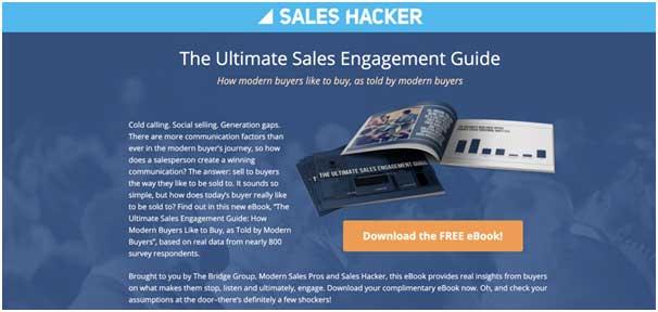 посадочная страница для электронной книги от Sales Hacker без ссылок