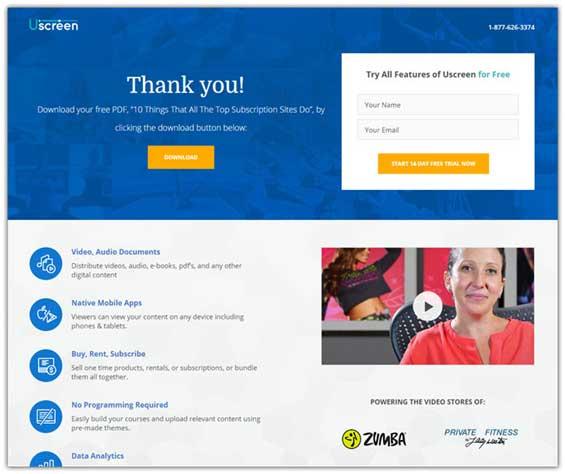 пример страницы благодарности от Uscreen