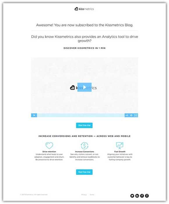 пример страницы благодарности от Kissmetrics