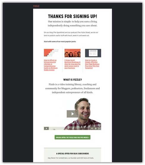 пример страницы благодарности от Fizzle