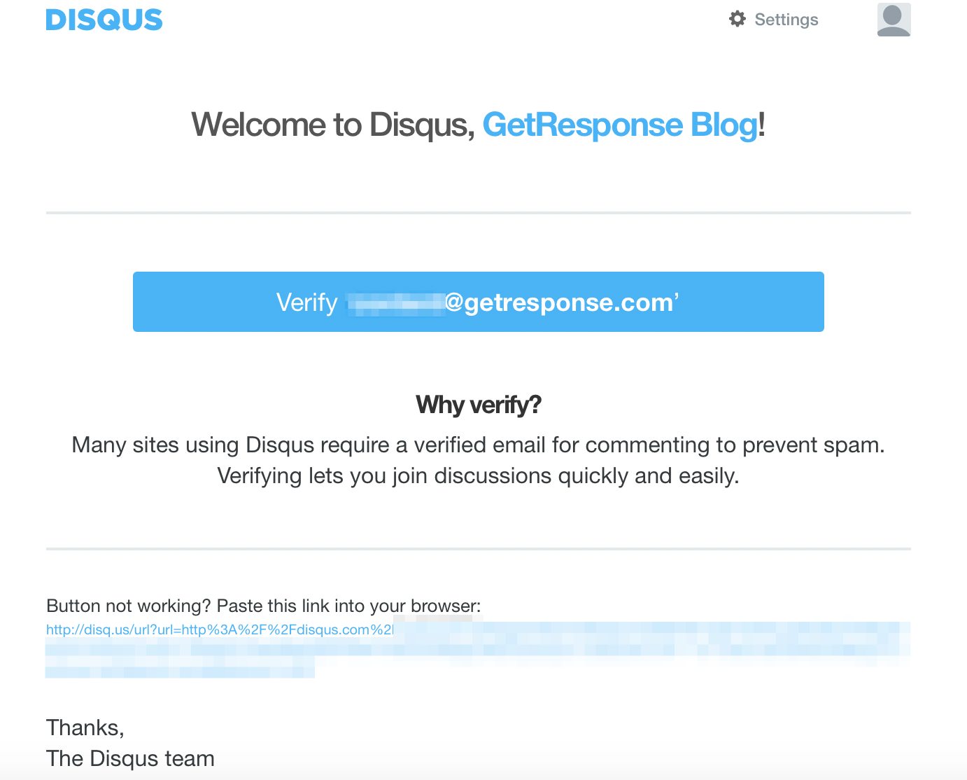Email verification email template from Disqus.