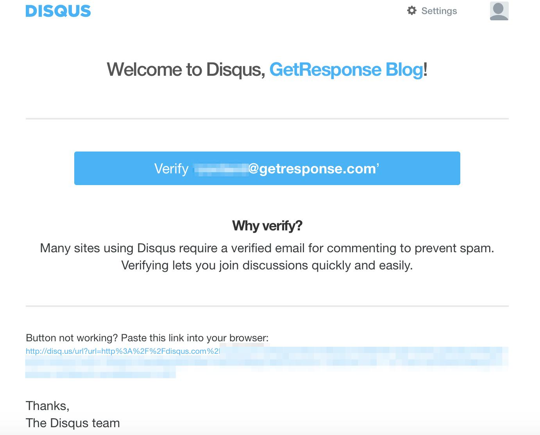 Plantilla de correo electrónico de verificación de correo electrónico de Disqus.