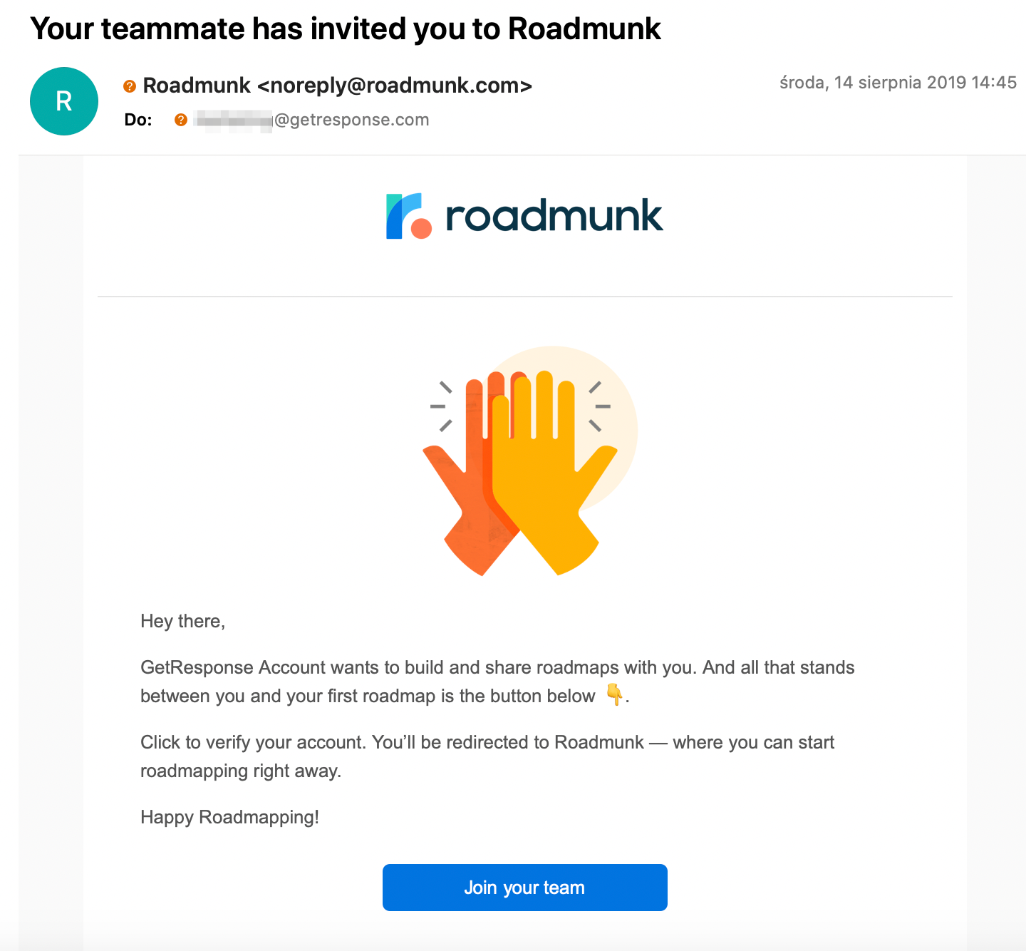 An email inviting the recipient to join their team in Roadmunk.