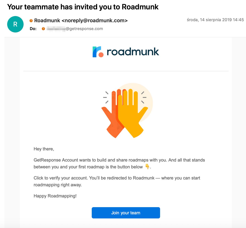 """Un correo electrónico invitando al destinatario a unirse a su equipo en Roadmunk. """"Class ="""" wp-image-9183 """"width ="""" 720 """"height ="""" 667"""