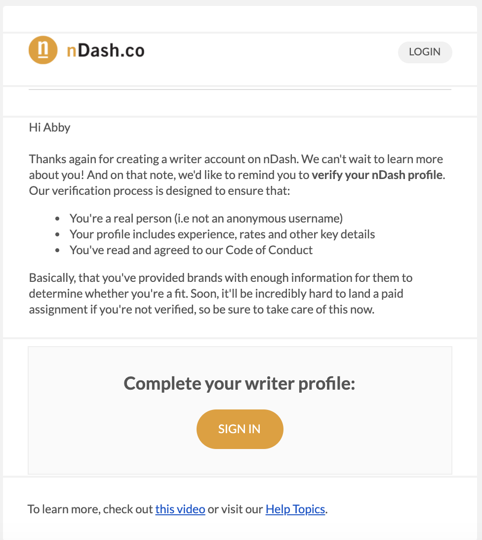 Signup confirmation email template from nDash.