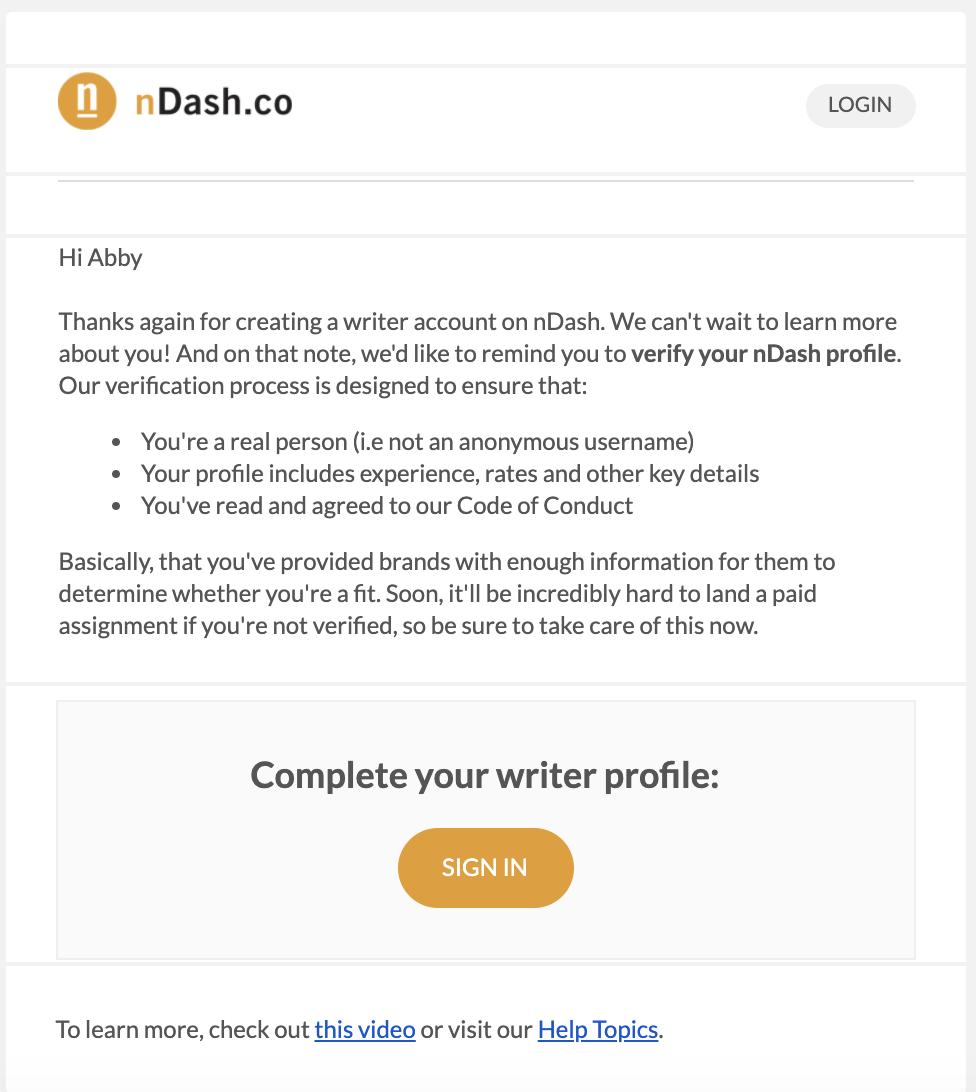 Plantilla de correo electrónico de confirmación de registro de nDash.