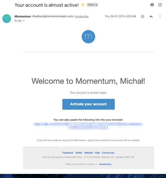 Account creation confirmation email from Momentum.