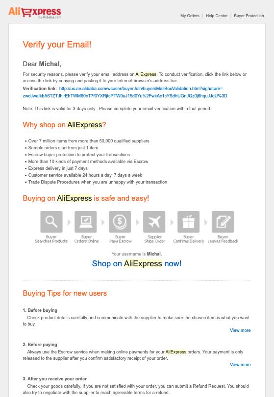 Mensaje de verificación de dirección de correo electrónico de AliExpress.