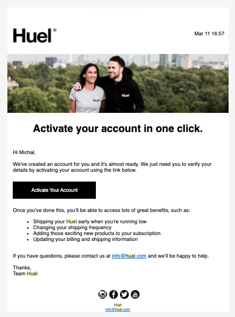 Huel account activation email message.