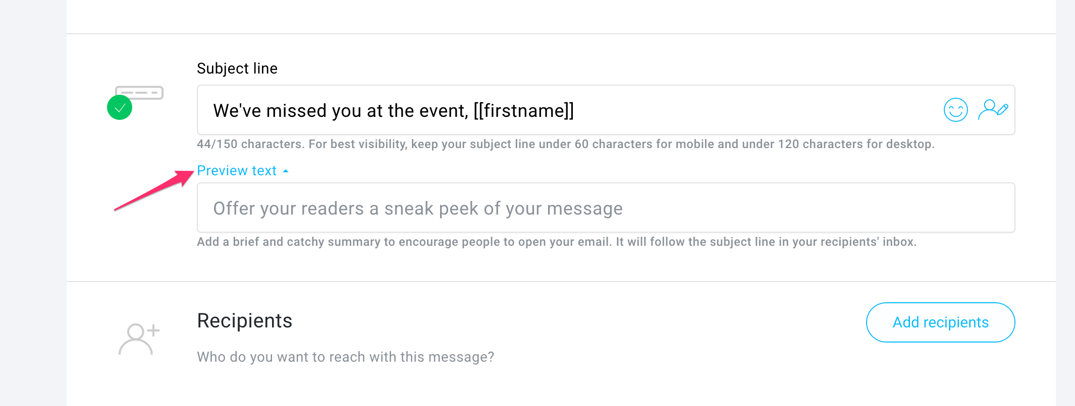 Where to find the preheader element in the GetResponse Email Creator.