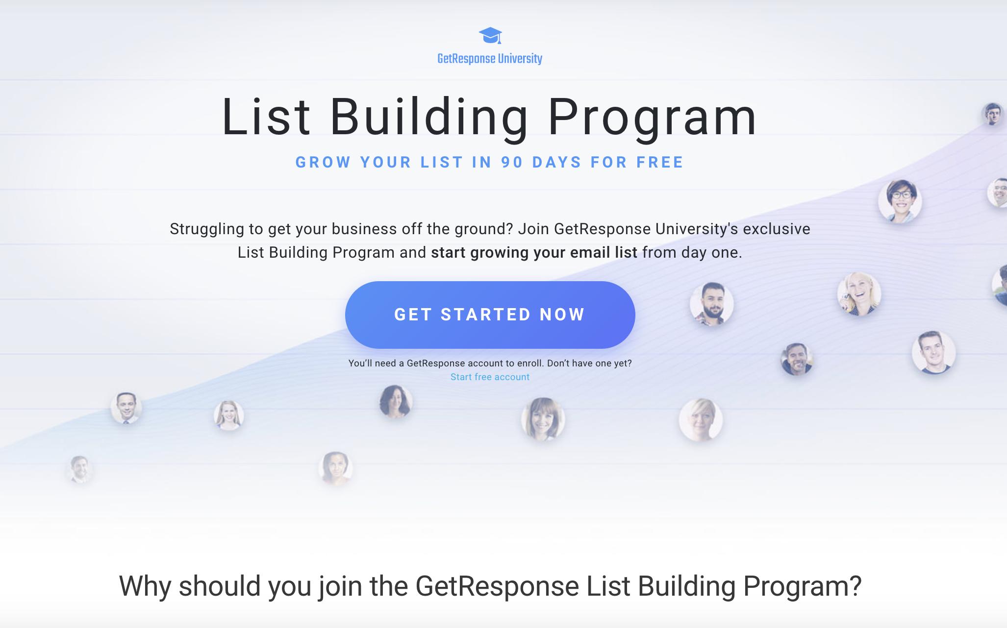 Strong CTA on GetResponse List Building Program landing page