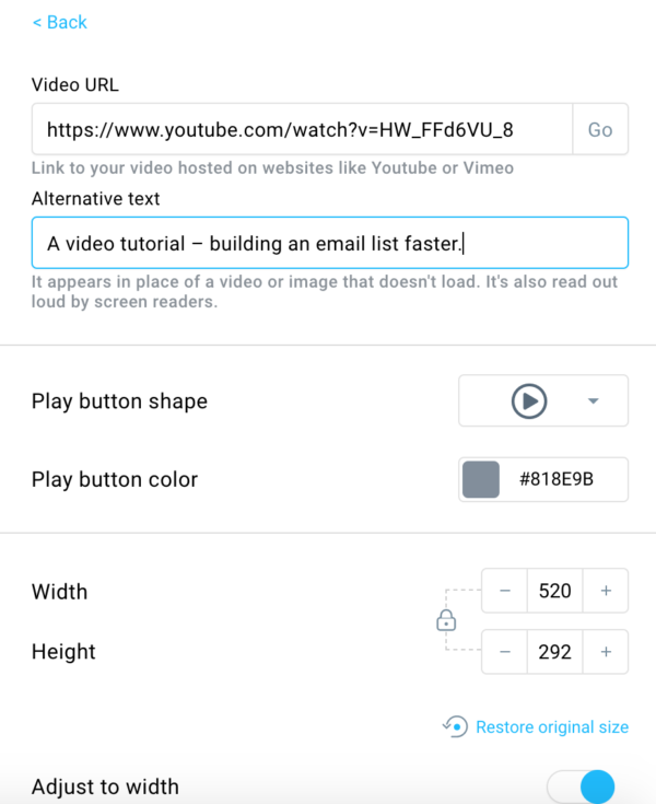 Video customization options in email.